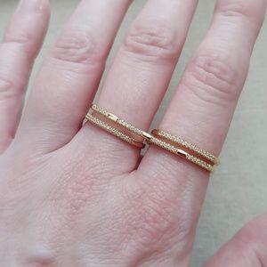 NWT Stella & Dot x Rebecca Minkoff Pave Duo Ring
